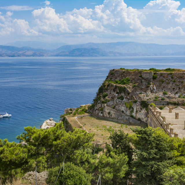"""""""View of Corfu old fortress, Greece"""" stock image"""