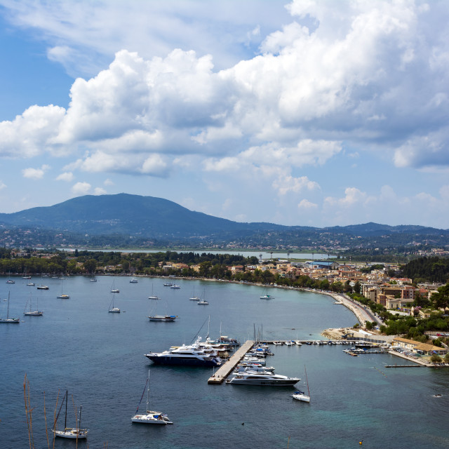"""""""A picturesque view of the city of Corfu from the fortress of the Corfu town...."""" stock image"""