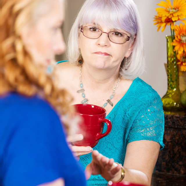 """""""Compassionate Woman Listens to Friend"""" stock image"""