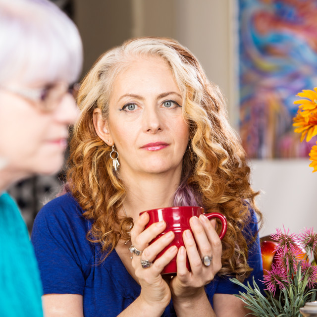 """""""Woman and Friend in Kitchen"""" stock image"""