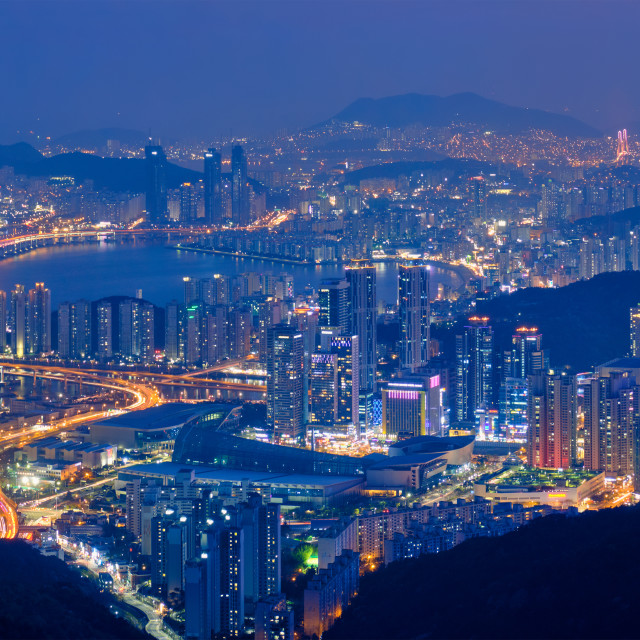 """Busan cityscape Gwangan Bridge at night"" stock image"