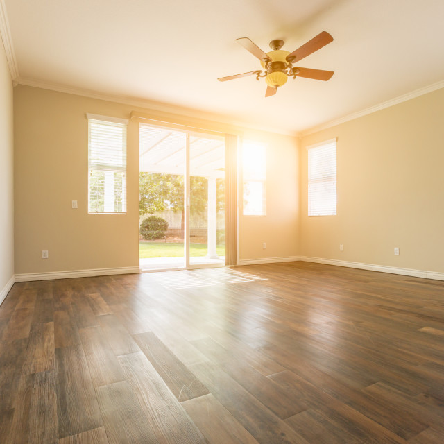 """Empty Room of New House With Hard Wood Floors"" stock image"
