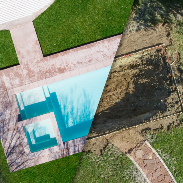 """Aerial of Before and After Pool Build Construction Site"" stock image"