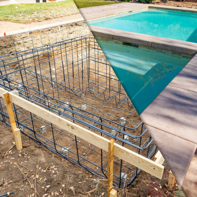 """Before and After Pool Build Construction Site"" stock image"
