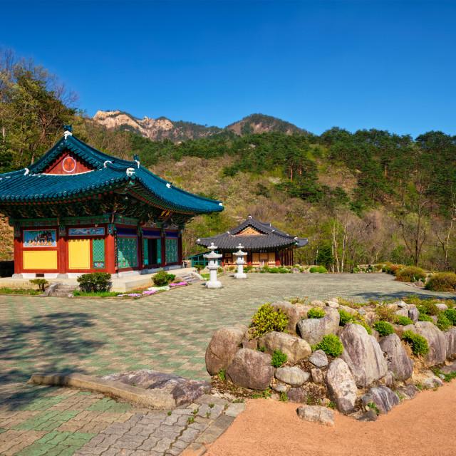 """""""Sinheungsa temple in Seoraksan National Park, Soraksan, South Korea"""" stock image"""
