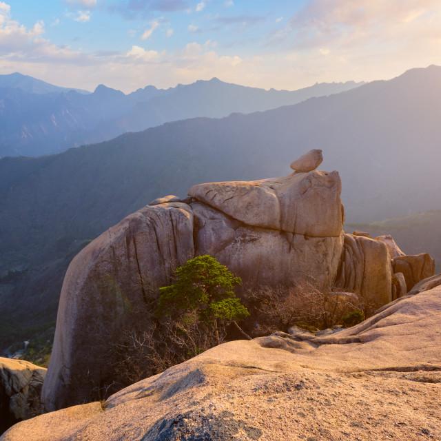 """View from Ulsanbawi rock peak on sunset. Seoraksan National Park, South Corea"" stock image"