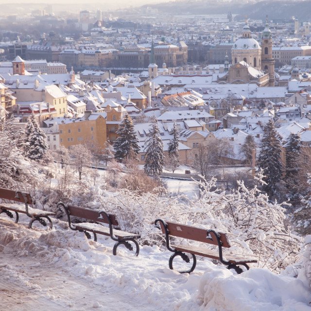 """Winter panorama of snow covered Prague Mala Strana - Lesser Town"" stock image"