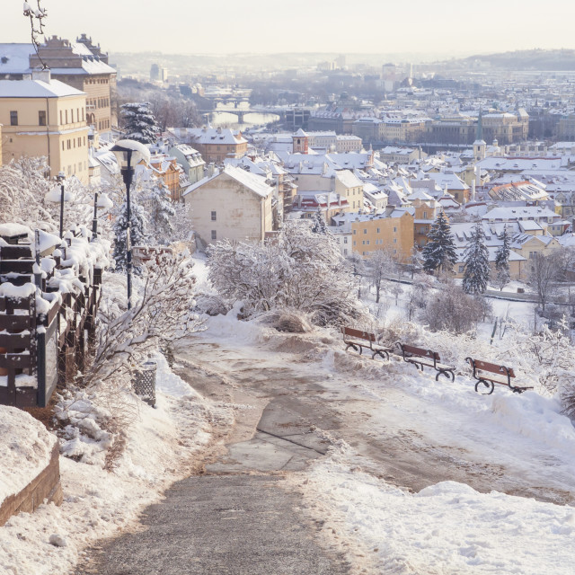 """Snowy Prague Mala Strana - Lesser Town view from Petrin hill"" stock image"