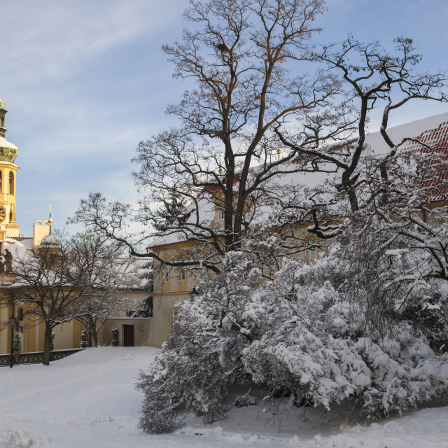 """Prague Loreta covered with snow in wintertime"" stock image"
