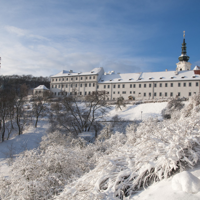 """Snowy Strahov Monastery in winter time"" stock image"