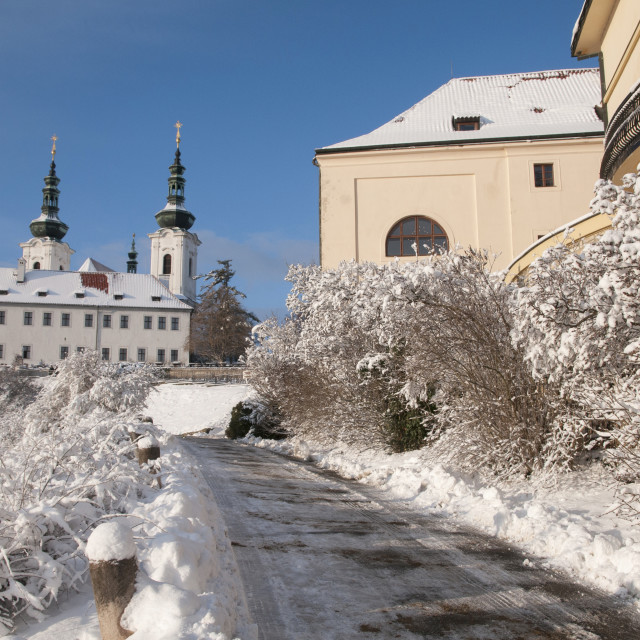"""Snowy Path to Strahov Monastery in winter time"" stock image"