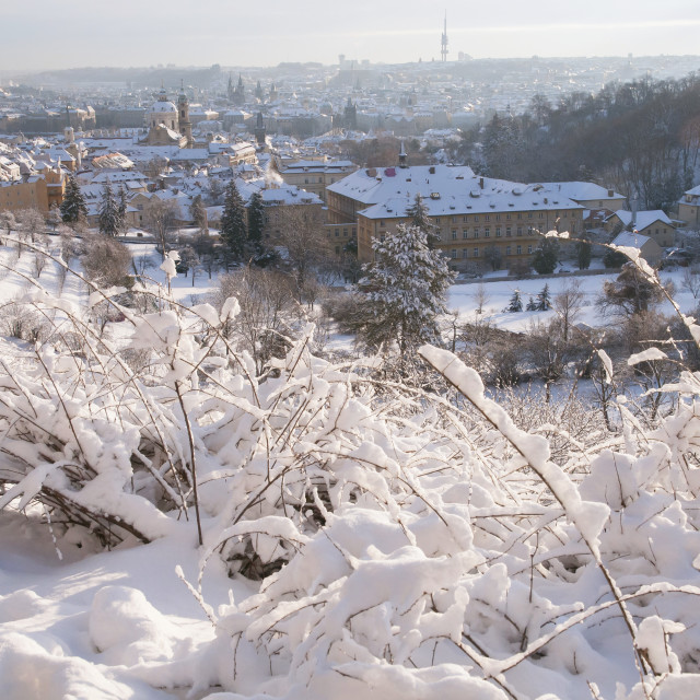 """View from Petrin hill to snowy Prague Mala Strana - Lesser Town"" stock image"