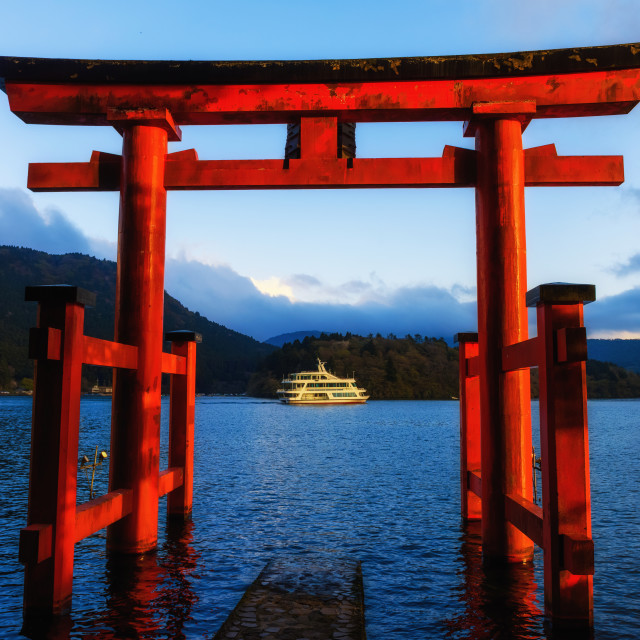 """Red torii gate in Hakone, Japan"" stock image"