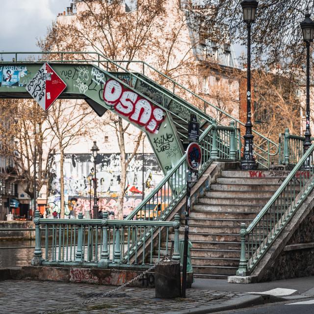 """A Bridge along the Canal Saint-Martin"" stock image"