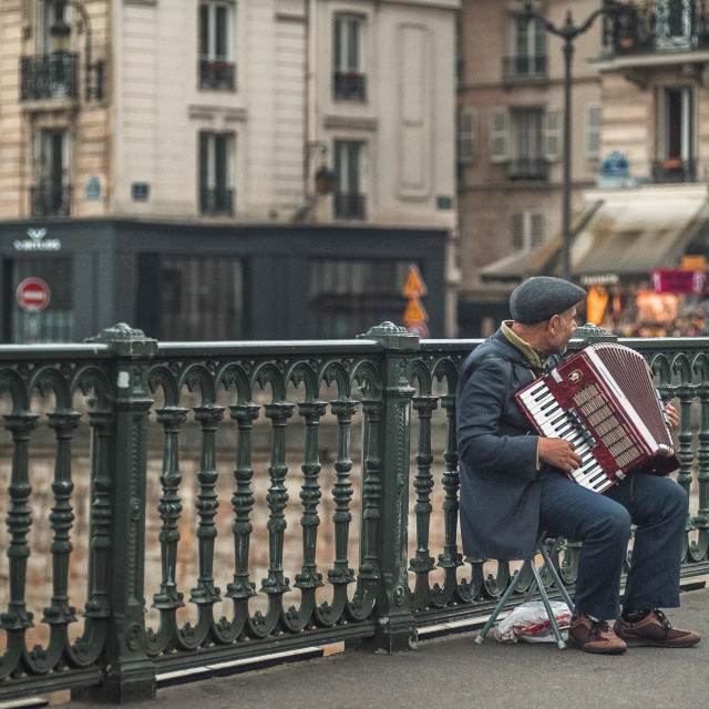 """A Parisian Accordionist 2"" stock image"