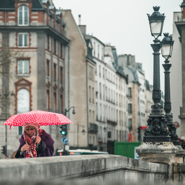 """Red Umbrella in the Rain"" stock image"