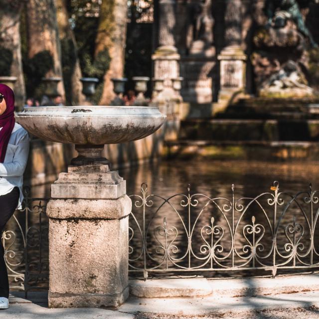 """""""A Tourist Snaps a Selfie In Paris"""" stock image"""