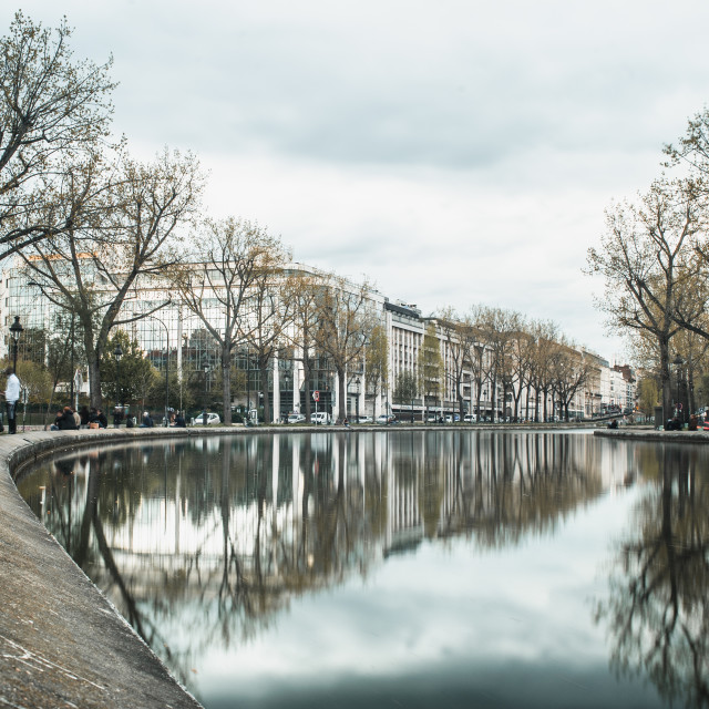 """""""Curve in the Canal Saint-Martin"""" stock image"""
