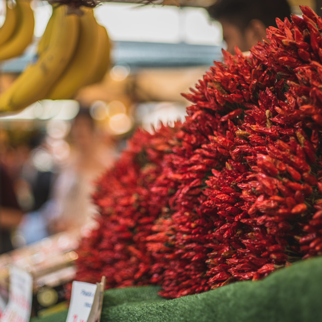 """""""Venetian Market Red Peppers on display"""" stock image"""