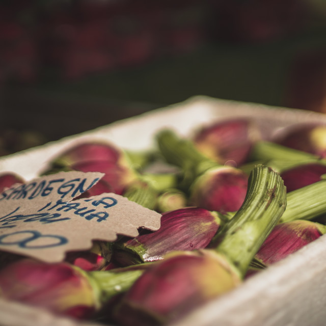 """Venetian Market peeled purple artichokes"" stock image"