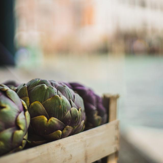 """Venetian Market Purple Artichokes on the canal"" stock image"