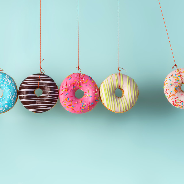 """""""Collision balls made from donuts"""" stock image"""