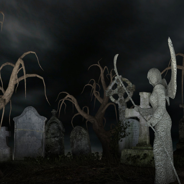 """""""Angel of Death in a spooky cemetery"""" stock image"""