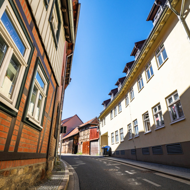 """""""Old buildings on a village street in Harz"""" stock image"""