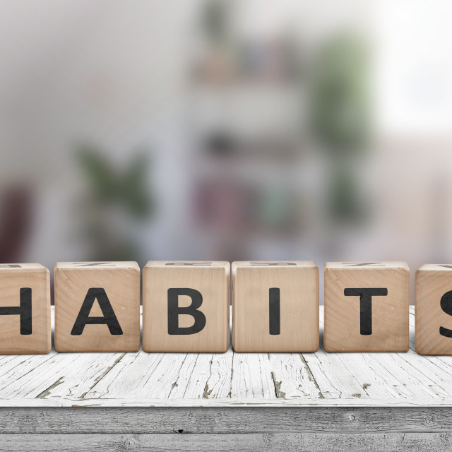"""""""What is your habits? Sign with the word habits"""" stock image"""