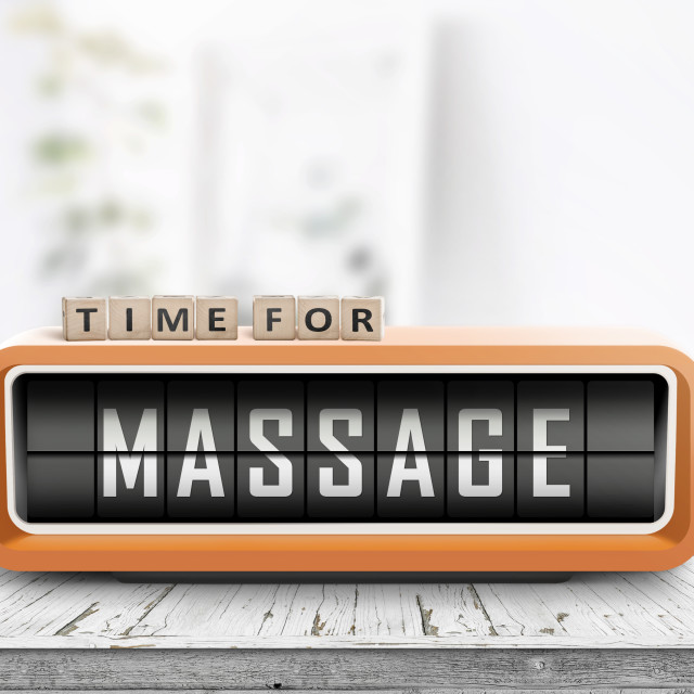"""Time for massage message on a retro clock"" stock image"