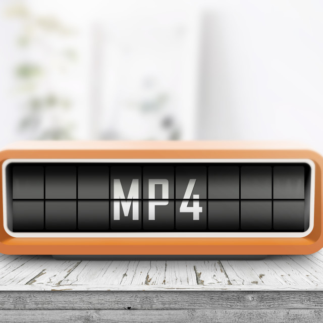 """""""Mp4 sign on a analog device in a bright living room"""" stock image"""