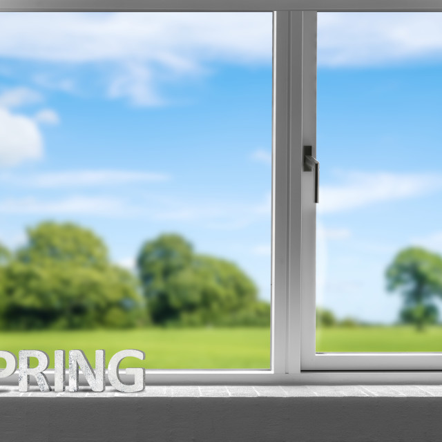 """Decor spring in a window sill with a view to a green garden"" stock image"