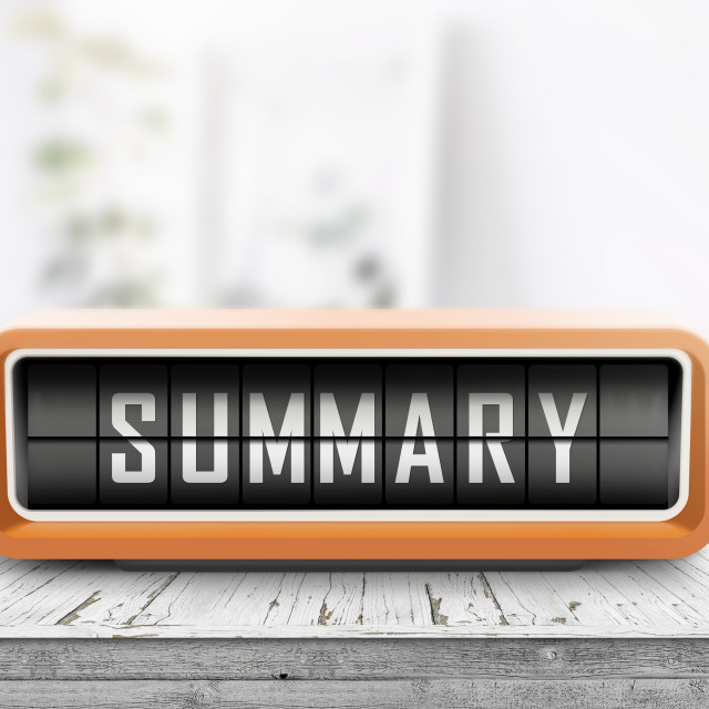 """Summary sign device on a weathered wooden table"" stock image"