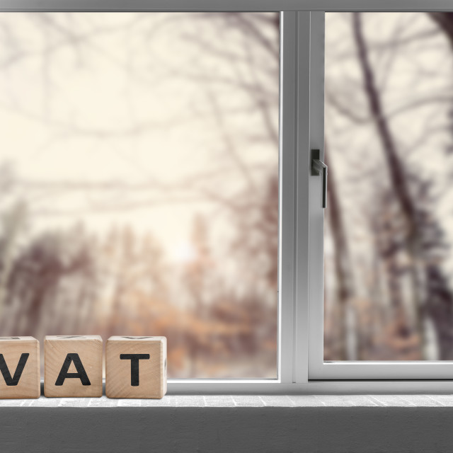 """VAT sign on a window sill in the morning sunrise"" stock image"