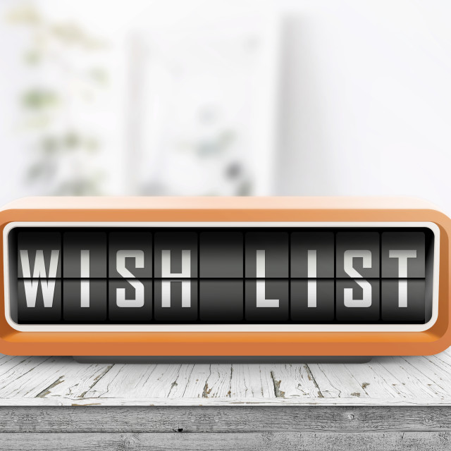 """Wish list written on a retro alarm device"" stock image"