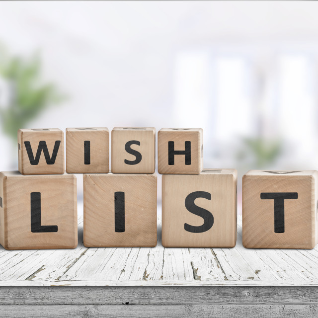"""Wish list sign made of wooden blocks"" stock image"
