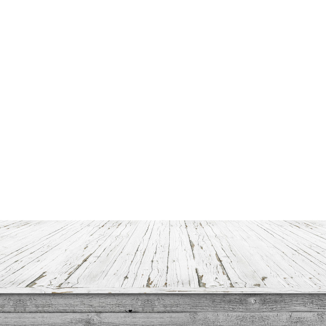 """Wooden stage of planks with pealing white paint"" stock image"