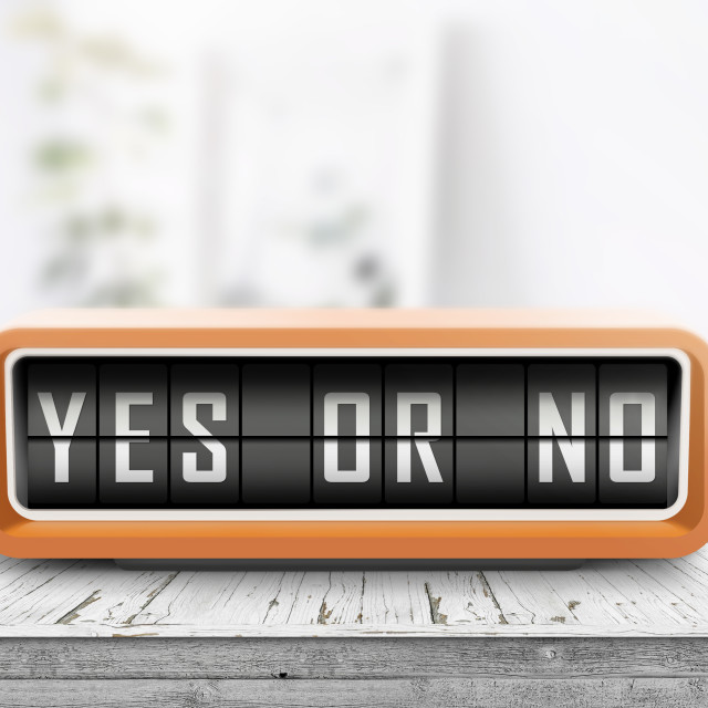 """Yes or no message on a retro device"" stock image"