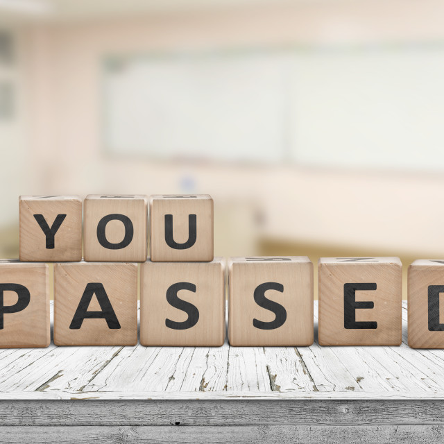 """You passed sign for quiz and education purposes"" stock image"