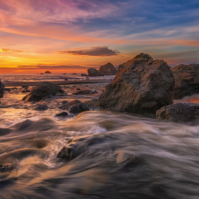 """Sunset at a Rocky Beach, Northern California Coast"" stock image"