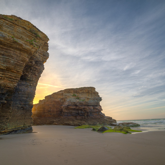 """Sunset on the cliffs of Las Catedrales"" stock image"