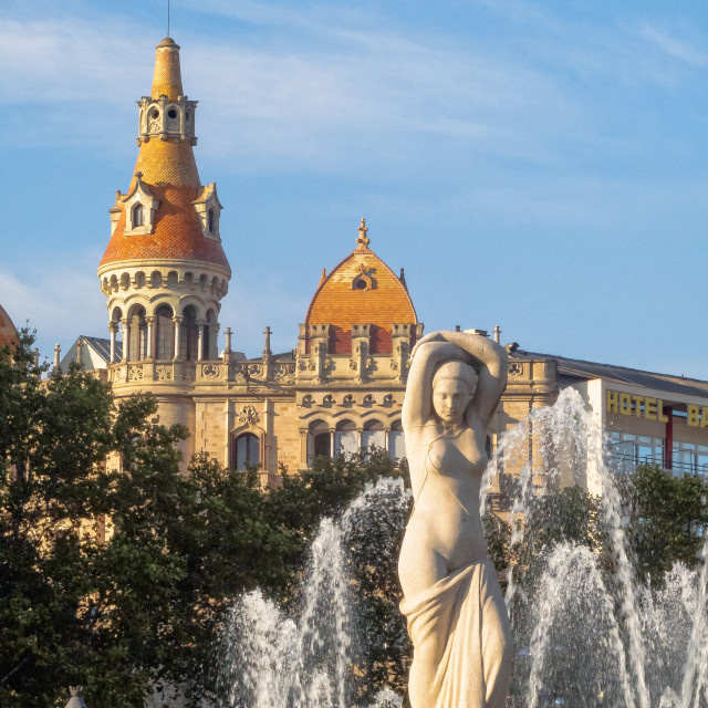 """""""Sculpture and fountain - Barcelona"""" stock image"""