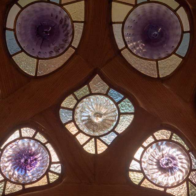 """""""Stained glass in Casa Battlo - Barcelona"""" stock image"""