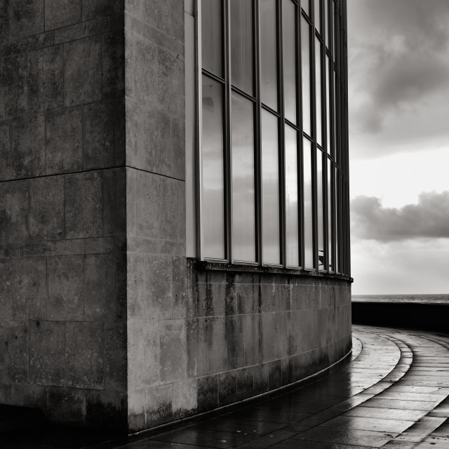 """Kursaal in the rain"" stock image"