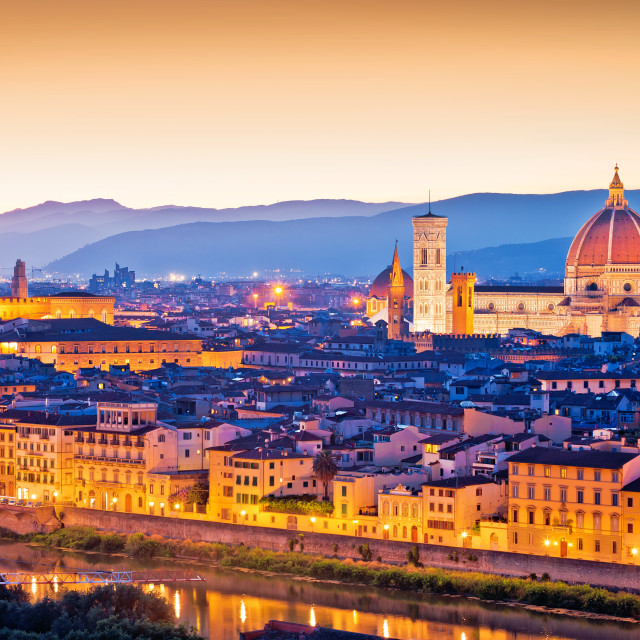 """""""Florence Duomo and cityscape panoramic evening sunset view"""" stock image"""