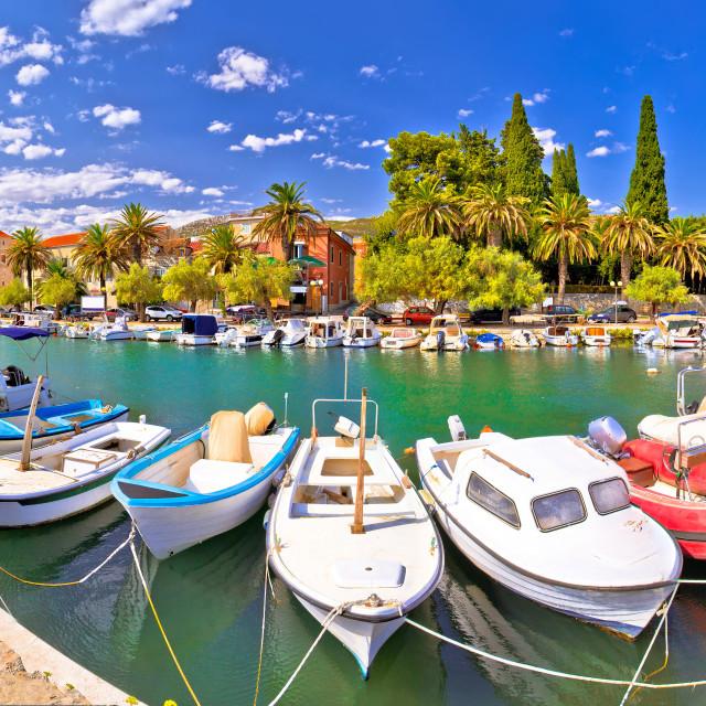 """Kastel Luksic harbor and landmarks summer view"" stock image"