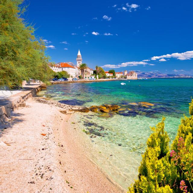 """Kastel Stafilic landmarks and turquoise beach view"" stock image"