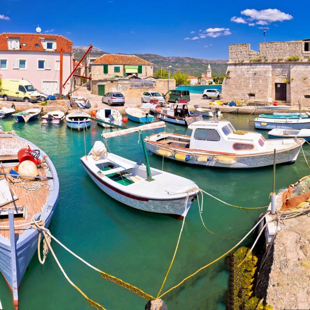 """Kastel Stafilic landmarks and turquoise sea view"" stock image"