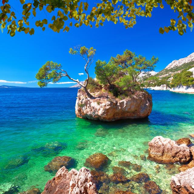 """Idyllic islet on Punta Rata beach in Brela"" stock image"