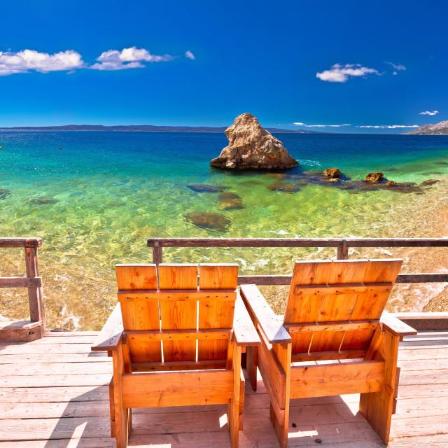 """Relax deck chair by idyllic Adriatic beach"" stock image"